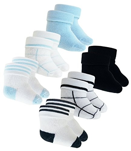 EveryKid Ewers 6er Pack Babysöckchen Sparpack Jungensöckchen Frotteesöckchen Söckchen Newborn Babys (EW-205068-S18-BJ0-001-002-OS) in Schwarz-Weiß-Blau-Weiß, Größe OS inkl Fashionguide