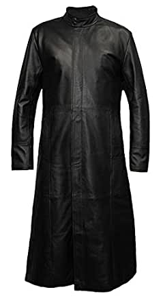 Mens Long Length Matrix Trilogy Styled Leather Coat in Black - Size M - 40