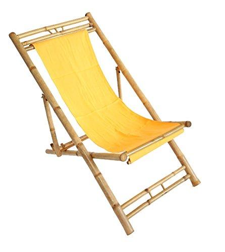Bambus Relax-Liegestuhl Sonnenstuhl ~ orange -