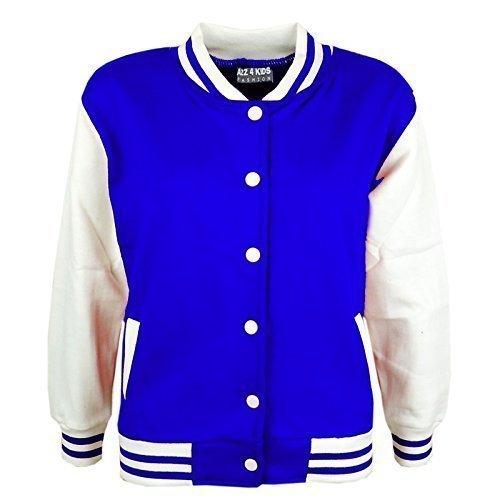 A2Z 4 Kids® Kinder Mädchen Jungen BASEBALL JACKE VARSITY Stil Mode Einfach SCHULE JACKEN TOP Alter 5-13 Jahre (Einfache Schule Kostüm)