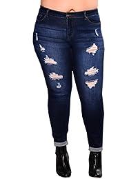 Jeans Hosen für Damen Gummizug Skinny Zerrissen mit Löchern Skinny Elegant  Mode Hosen High Waist Dunkelblau 1417ab05c6