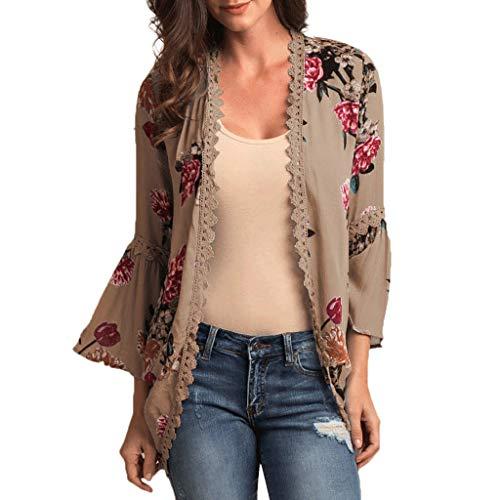 BHYDRY Womens Chiffon Schal Print Kimono Strickjacke verdecken Flare Sleeve Beachwear(X-Large,Khaki)