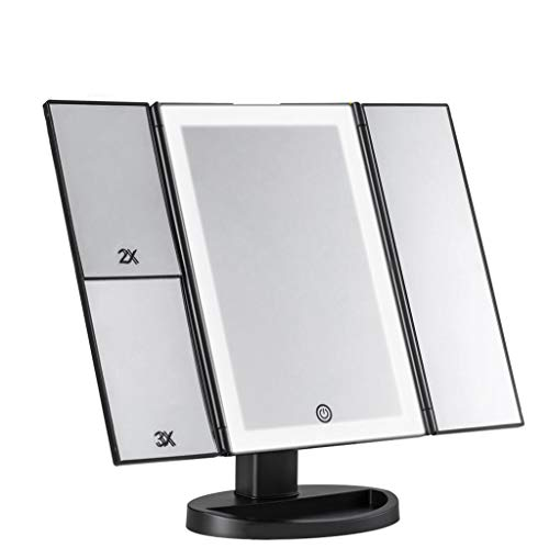 Lampe De Table Carrée De Miroir De Maquillage De LED Avec Des Lumières Loupe Pliable Miroir De Maquillage De Beauté (noir)
