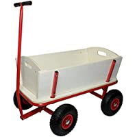 Bollerwagen aus Holz mit Luftreifen und Stahl-Gestell :: Transportwagen belastbar bis 100 kg :: Handwagen Transportkarre