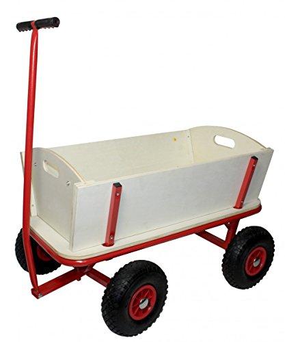 Bollerwagen aus Holz mit Luftreifen und Stahl-Gestell :: Transportwagen belastbar bis 100 kg