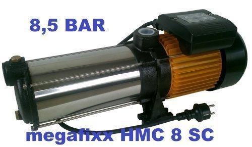 Mehrstufige Kreiselpumpe megafixx HMC8SC 1700 Watt bis 8,5 BAR - 8 Stufen - Laufräder aus Edelstahl