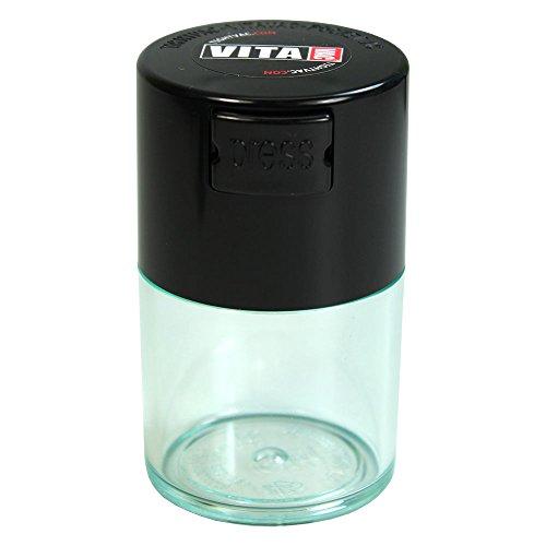 Tightvac Vitavac-Pocketvac Vacuum Sealed Pill Box & Vitamin Container, 1/2-Ounce/ 06. Liter, Clear Body/Black Cap