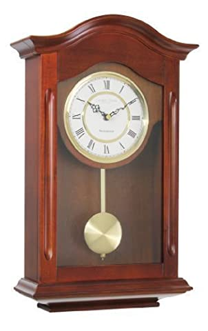 LC Designs Walnut finish Wooden Pendulum Wall Clock with Westminster Chime 25054
