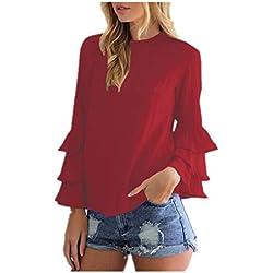 StyleDome Mujer Camiseta Mangas Largas Volantes Lunares Blusa Elegante Noche Casual Oficina Burdeos EU 38-40