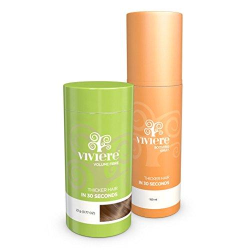 VIVIERE 22 g. + Fix Spray 100 ml.- Haarverdichtung Haarverdichter Schütthaar Microhairs, Farbton:Blond (Blonde)