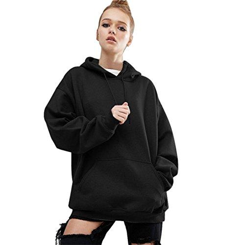 Pullover Damen Btruely Herbst Winter Hoodies Sweatsuit Beiläufig Frauen Outwear (S, Schwarz) -