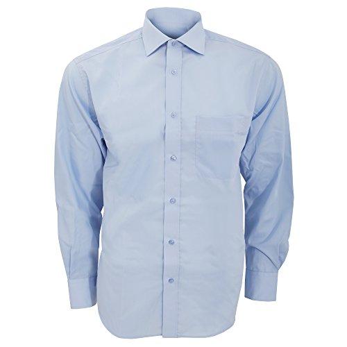 Kustom Kit Premium Herren Hemd, Langarm, bügelfrei Hellblau