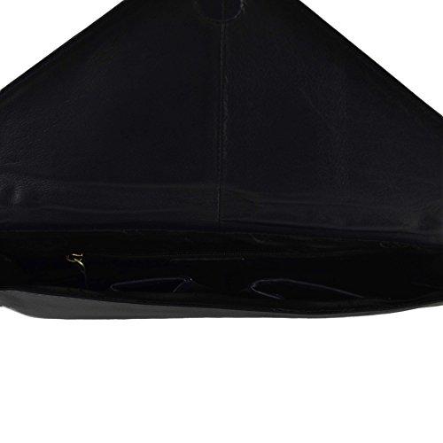 Gigi-Pochette da donna, in pelle morbida fodera polivalente Nero (nero)