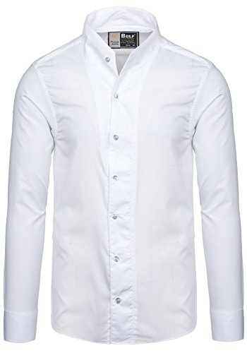BOLF – Chemise casual – avec manches longues – BOLF 5702 – Homme Blanc