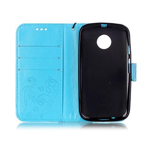 Motorola-Moto-E2-Custodia-Cover-Motorola-Moto-E-2nd-Custodia-Pelle-Portafoglio-JAWSEU-Shock-AbsorptionAnti-Scratch-Lusso-3D-Goffratura-Fiore-Farfalla-Wallet-PU-Leather-Folio-Case-Cover-per-Moto-E2-Cus