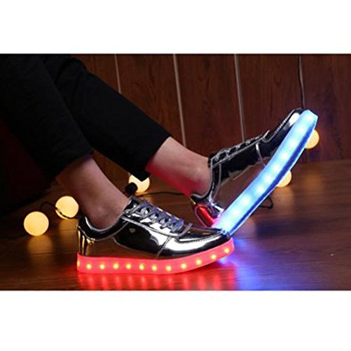 (Present:kleines Handtuch)JUNGLEST® 7 Farbe Lackleder High Top USB Aufladen LED Leuchtend Sport Schuhe Sportschuhe Sneaker Turnschuhe für Unisex-Erwachsene Silber
