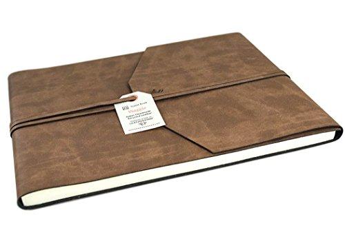 Viaggio Gästebuch handgefertigt mit Einband aus recyceltem Italienisches Leder Tan Extra Large, Gästebuch Seiten (22cm x 28cm x 2cm) -