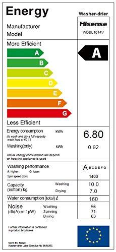 Hisense WDBL1014V Waschtrockner/A / 1360 kWh/Jahr / 1400 UpM / 10 kg / 14000 liter/jahr / Wash und Dry 60 Minuten Kurzprogramm/Weiß