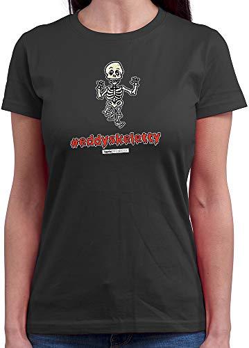 HARIZ  Damen T-Shirt Rundhals Pixbros Eddyskeletty Halloween Kostüm Horror Karneval Plus Geschenkkarte Dunkel Grau - Dunkle Zauberin Damen Kostüm