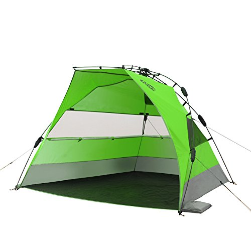 Qeedo Quick Bay Xl Strand-Zelt mit UV-Schutz (UV80 nach UV-Standard 801) Pop-UP-Strandmuschel - grün