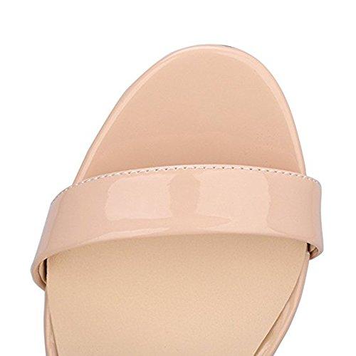 Damenschuhe Open Toe Mehrfarbig Sandalen High-Heels Stiletto Riemchen Lack Nude