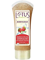 Lotus Herbal Berryscrub Strawberry and Aloe Vera Exfoliating Face Wash, 50g