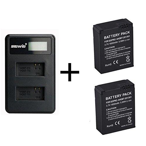 2 Piezas 1600mAh GoPro AHDBT-201/301 Batería Cámara