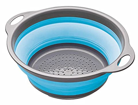 Kitchen Craft Colourworks Collapsible Colander, Blue, 24cm