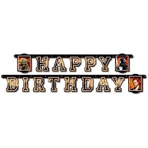 Star Wars Girlande Happy-Birthday aus Pappe, 180 cm