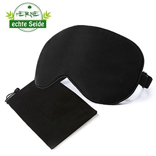 Schlafmaske - 100% echte Seide Augenmaske schwarz - Sleeping Mask für Reise und Zuhause mit Aufbewahrungsbeutel- verstellbares Stirnband - Schlafbrille für Damen , Herren und Kinder