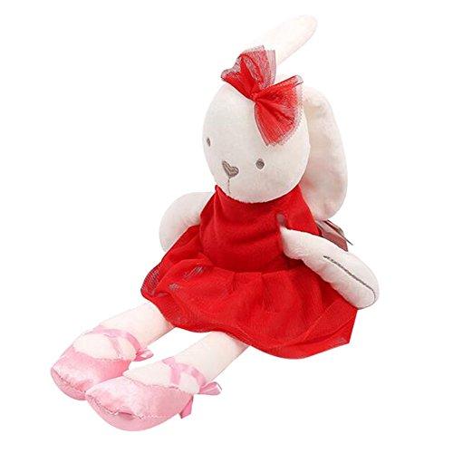 �schen-Schlafenkomfort gefüllte weiche Plüsch-Puppen-Spielzeug-Baby-Mädchen-Geschenke (rot) (Plüsch-kaninchen)