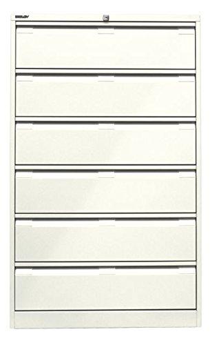 Bisley Karteischrank, dreibahnig DIN A5, 6 Schubladen, Stahl, 625 Reinweiß, 62.2 x 80 x 132.1 cm