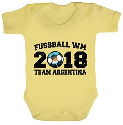 Argentinien Fußball-bälle (Argentinien Fußball WM Fanfest Gruppen Strampler Bio Baumwoll Baby Body kurzarm Jungen Mädchen Team Argentina, Größe: 12 - 18 Monate,Soft Yellow)