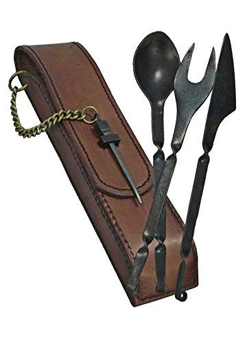 Mittelalterliches Essbesteck aus Stahl mit Lederetui Messer Gabel Löffel Mittelalter Wikinger (Braun) (Mittelalterliche Soldaten Kostüme)