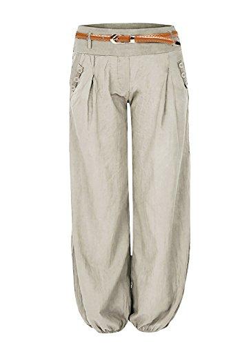 Damen Haremshose Elegant Winter Pumphose Lange Leinen Hose mit Gürtel Aladin Pants,1 Hosen+1 Gürtel (S, Beige)