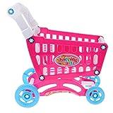 FLAMEER Plastik Einkaufswagen Spielzeug Kinderspielzeug für Kaufmannsladen Spiel, 32 x 18 x 36 cm - Rot