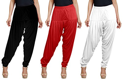 Goodtry Women's Viscose Patiala Free Size Pack of 3 Black, White, Red