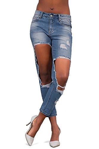 LustyChic - Jeans - Femme Light Blue Very Ripped Boyfriend Jeans