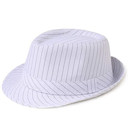 Coucoland Panama Hut Mafia Gangster Herren Fedora Trilby Bogart Hut Herren 1920s Gatsby Kostüm Accessoires (Weiß Streifen)