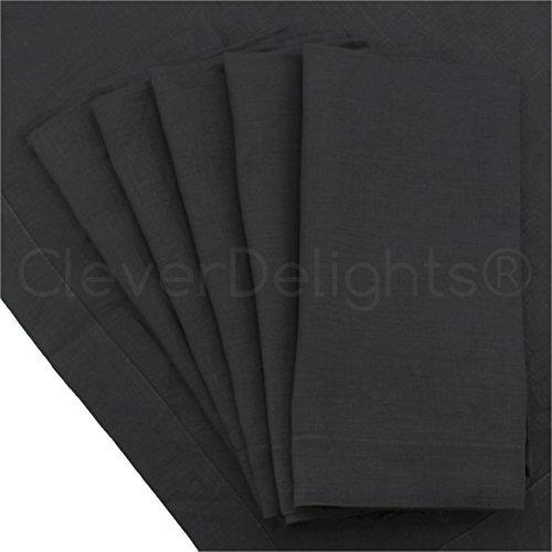 CleverDelights Servietten, Leinen, 50,8 x 50,8 cm, Schwarz, 6 Stück -