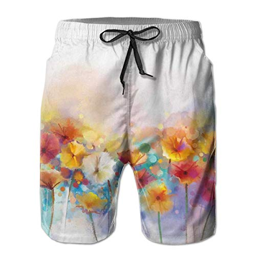MIOMIOK Mens Beach Shorts Swim Trunks,Gerbera Bouquet Textured Artisan Inflorescence Morph New Paint Red Orange_2,Summer Cool Quick Dry Board Shorts Bathing SuitXXL