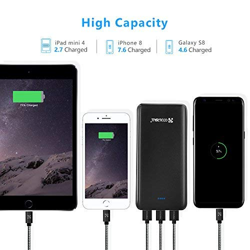Powerbank 20000mAh, Coolreall 3 USB Port 4,8A Output Externer Akku Power Bank - 4