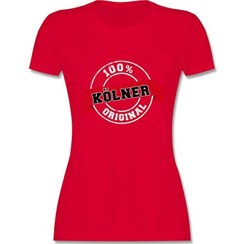 Städte - Kölner Original - tailliertes Premium T-Shirt mit Rundhalsausschnitt für Damen Rot