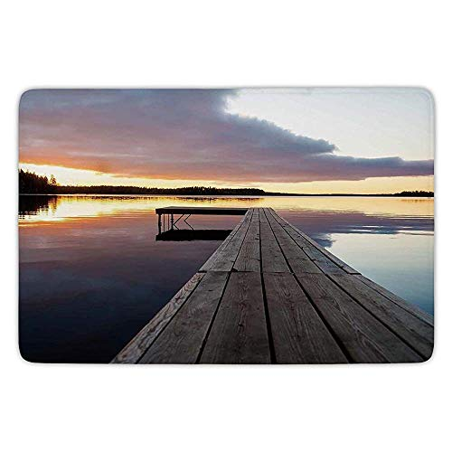 XIAOYI Bathroom Bath Rug Kitchen Floor Mat Carpet,Landscape,Serenity Relaxing Themed Port Pier Wooden Rustic Image of Dawn Sunset in Lake Art,Multicolor,Flannel Microfiber Non-Slip Soft Absorbent - Side Port Memory