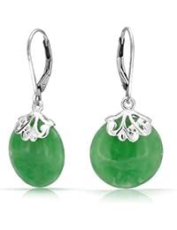Bling Jewelry Piedra Jade Verde Dico pendiente Plata Esterlina hacia atrá