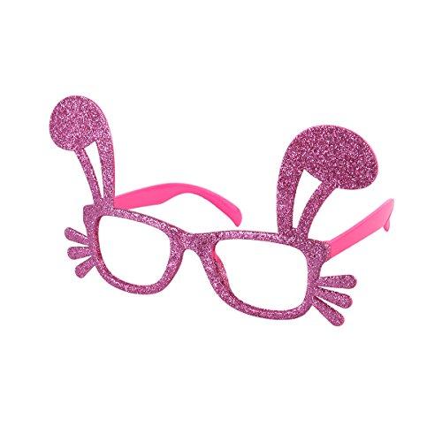 Tinksky Osterhase Ohr Brille Dekoration Glitter Lustige Rahmen Phantasie Kostüm Zubehör für Kinder Erwachsene Neuheit Sonnenbrille Party Supplies