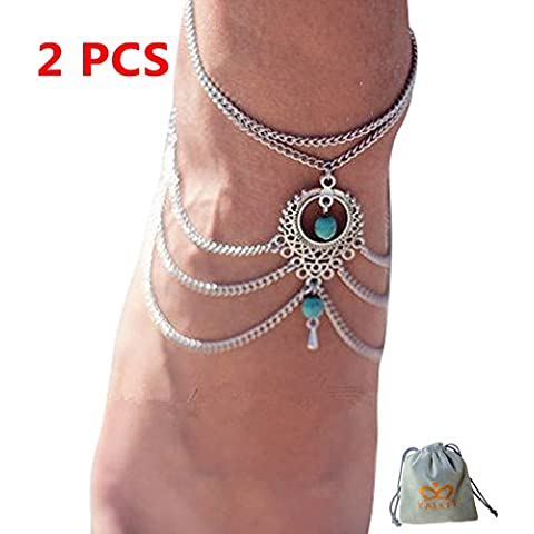 yallff 2pcs Mujeres Bohemian turquesa cuentas brazo cadena borla de tobillos pulseras Descalzo