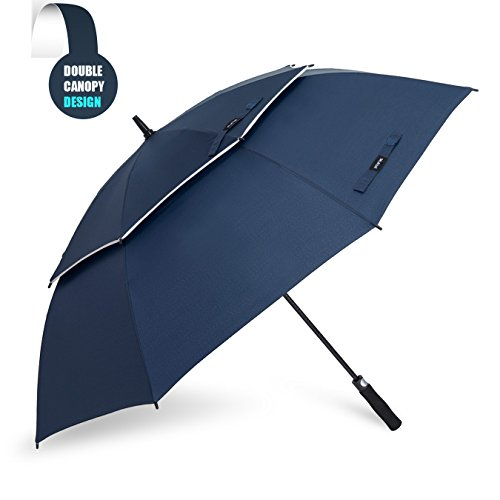 Grand Parapluie Automatique de Golf - Solide Homme Femme Taille 157,5 cm Anti UV Anti Retournement Tempête Vent(Bleu)