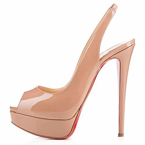 Caitlin pan donna platform peep toe platform tacco a spillo sandali a spillo lady wedding tacchi alti slip on dress shoes