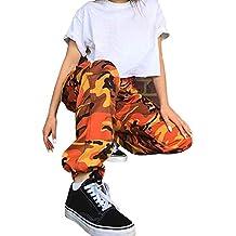 06c335dcae99a OverDose Femme Pantalon à Imprimé Camouflage, Jogging Casual Sports Taille  Haute Trousers Jeans